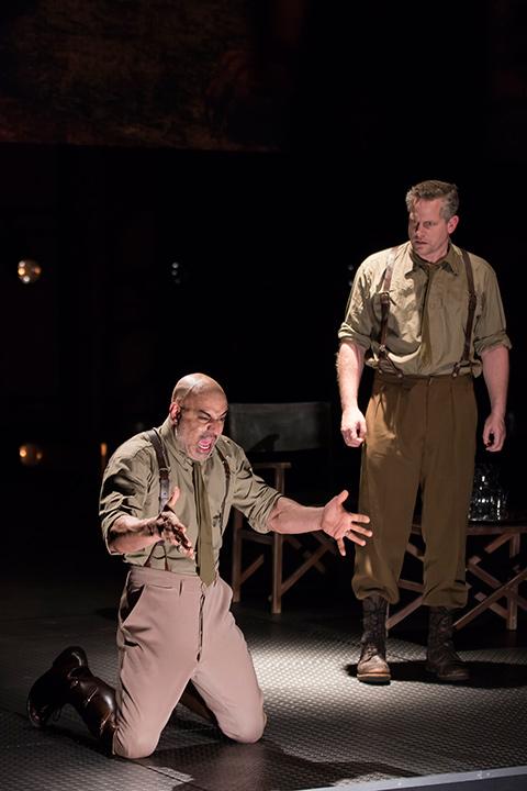 Faran Tahir as Othello and Jonno Roberts in Othello
