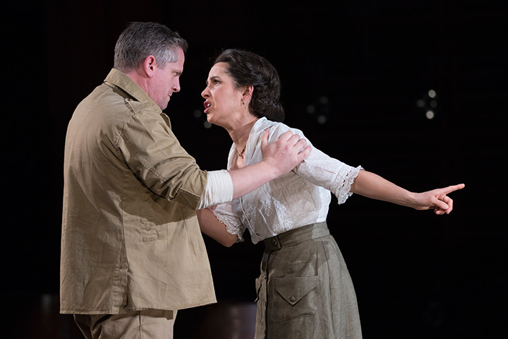 Jonno Roberts as Iago and Merritt Janson as Emilia in STC's Othello