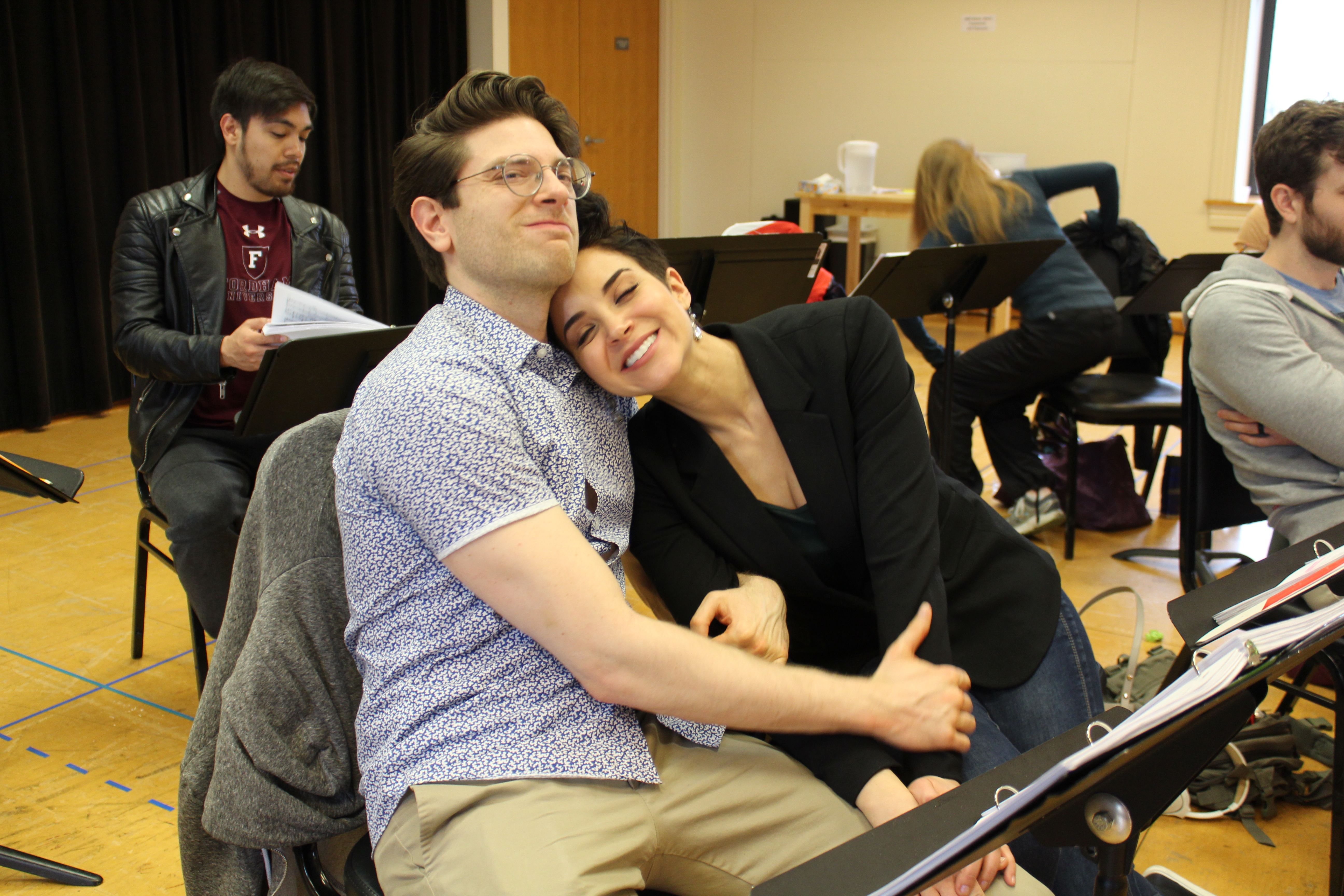 Photo of Julio Catano-Yee, Nick Fitzer and Alexandria Silber in rehearsal for Camelot.