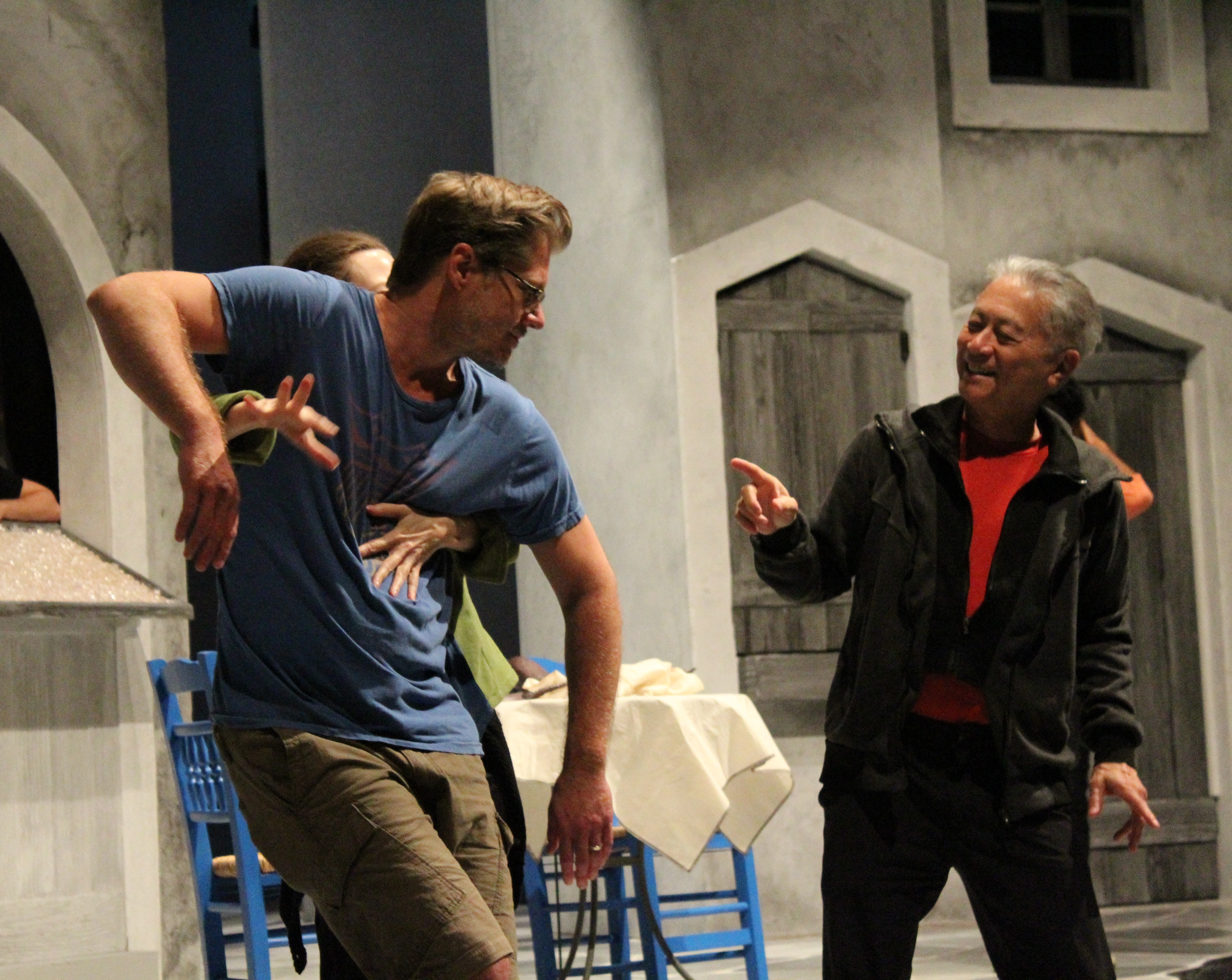 Comedy Fight Choreographer David Leong directs Veanne Cox and Gregory Wooddell in rehearsal for The Comedy of Errors.