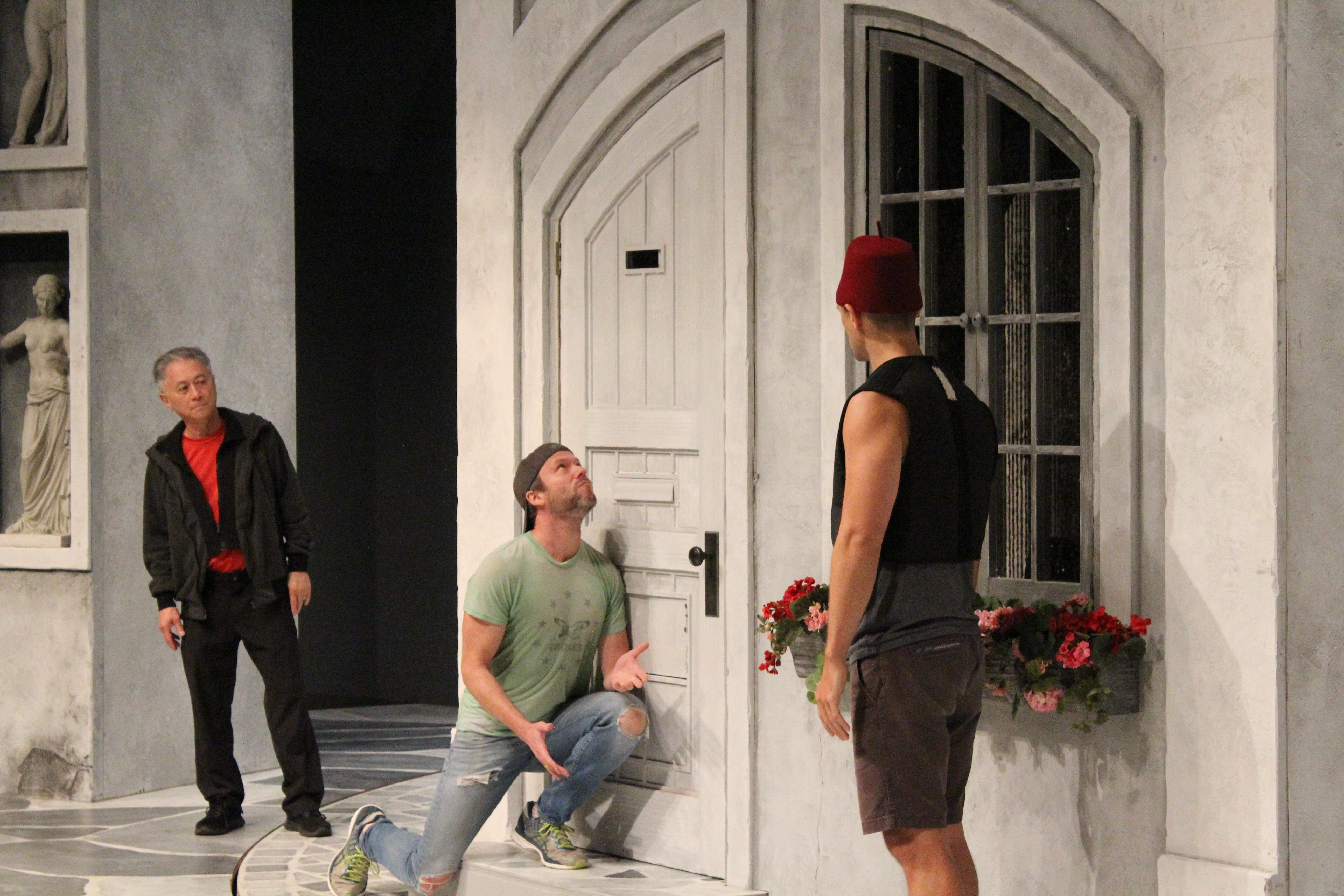 Comedy Fight Choreographer David Leong, Christian Conn and Carter Gill in rehearsal for The Comedy of Errors.