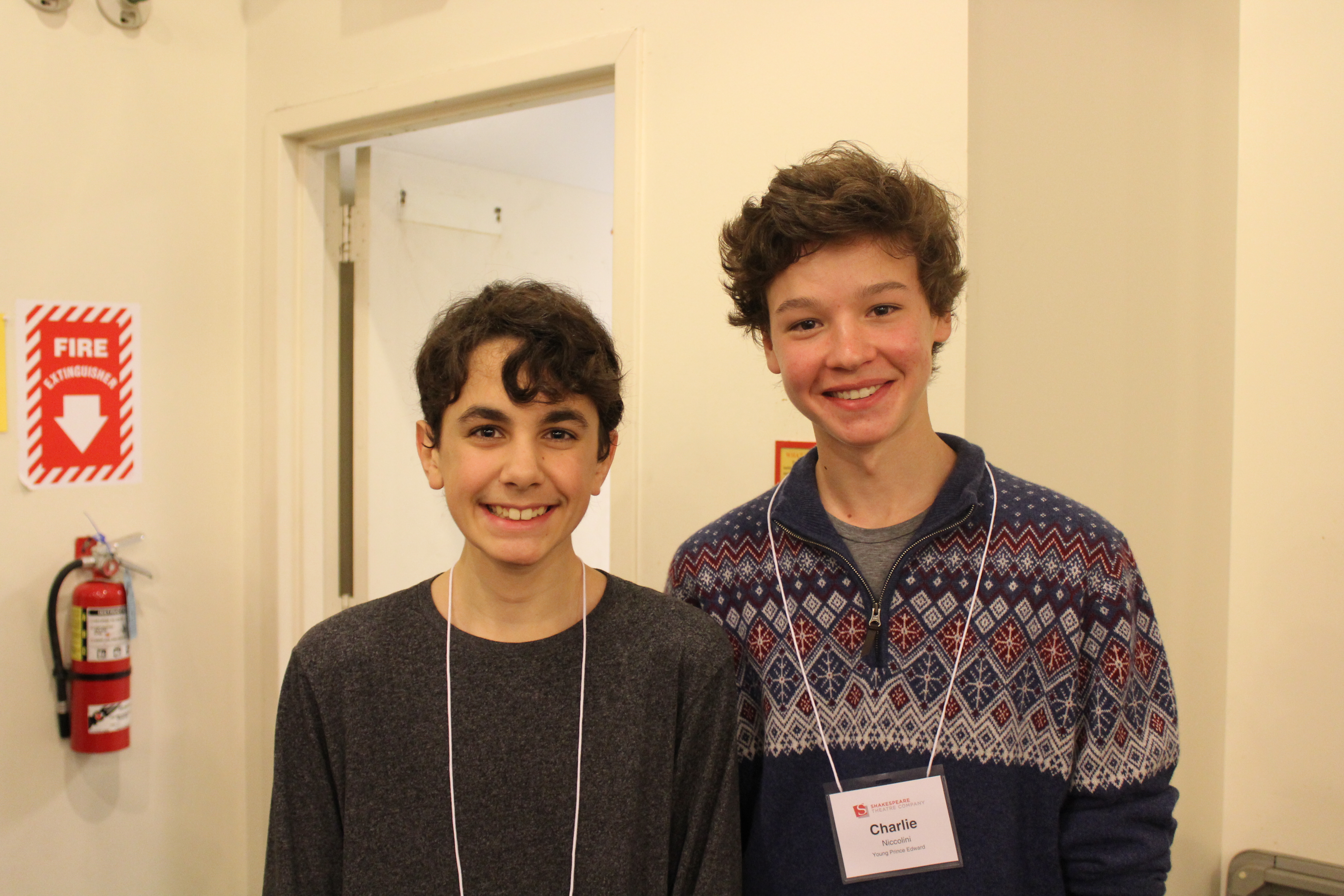 Photo of Logan Matthew Baker (Duke of York) and Charlie Niccolini (Young Prince Edward) in rehearsal for Richard the Third.