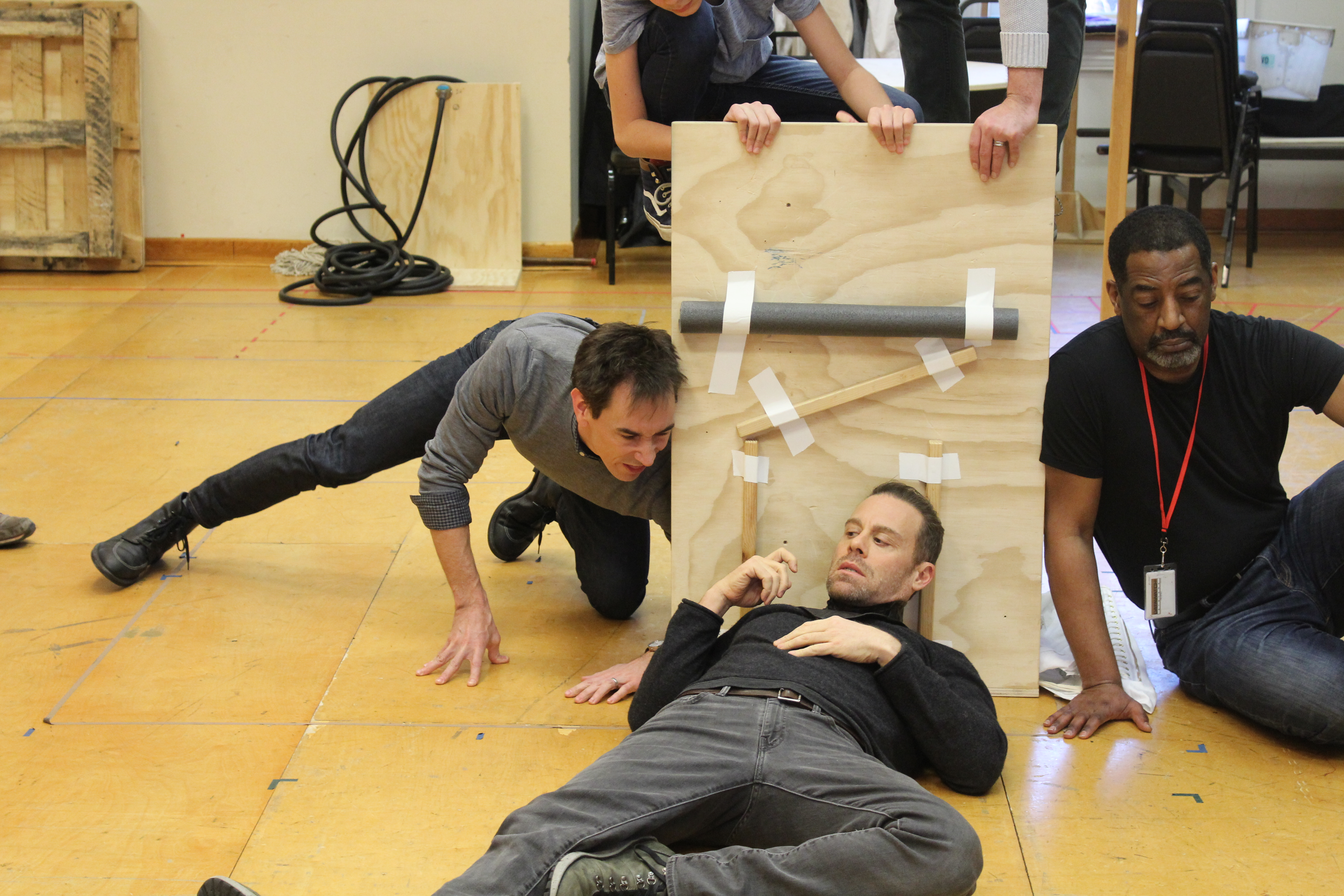Photo of Director David Muse, Matthew Rauch as Richard and Derrick Lee Weeden as Lord Hastings in rehearsal for RICHARD THE THIRD.