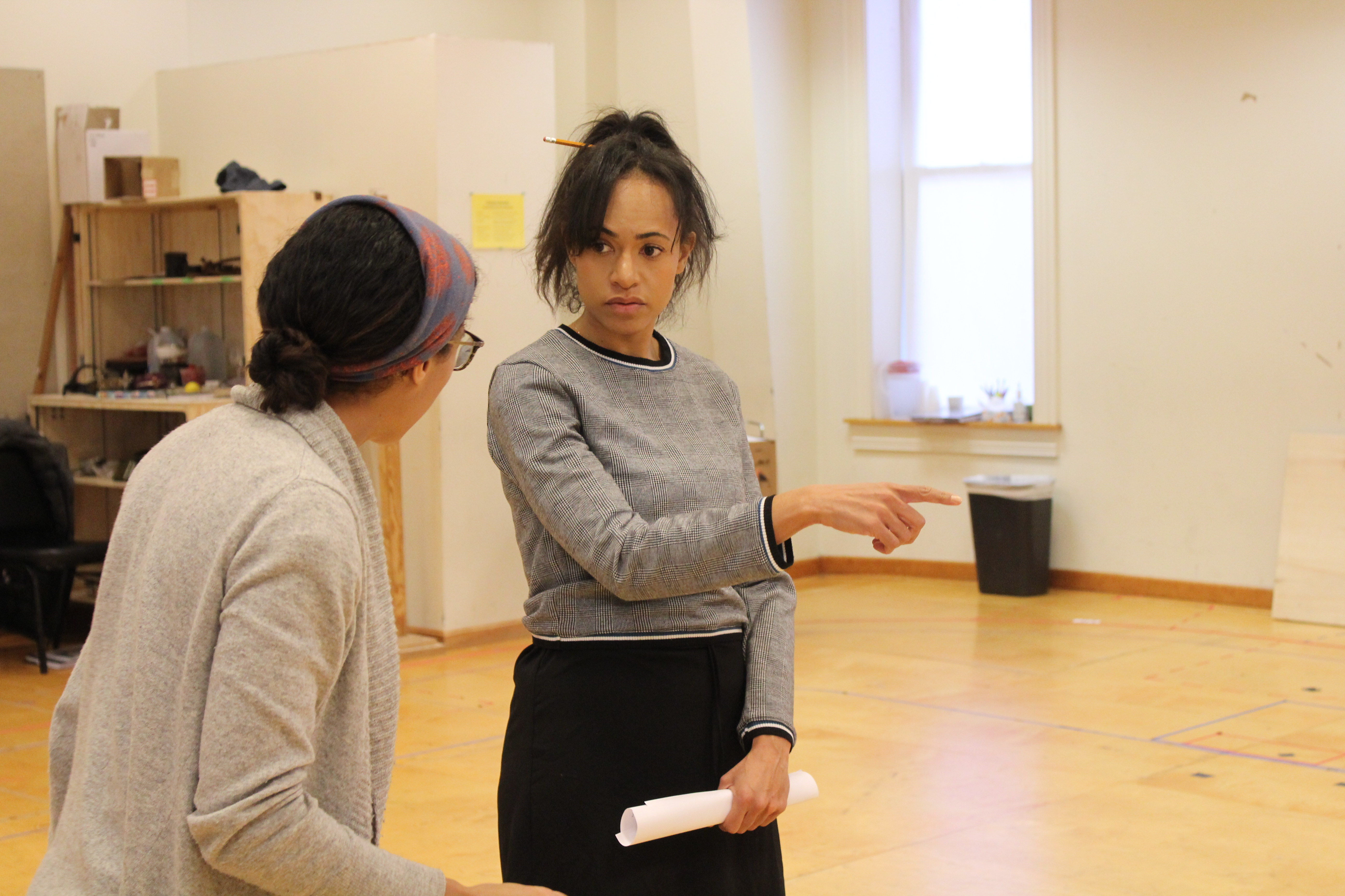 Photo of Movement Director Steph Paul and Cara Ricketts as Lady Anne in rehearsal for RICHARD THE THIRD.