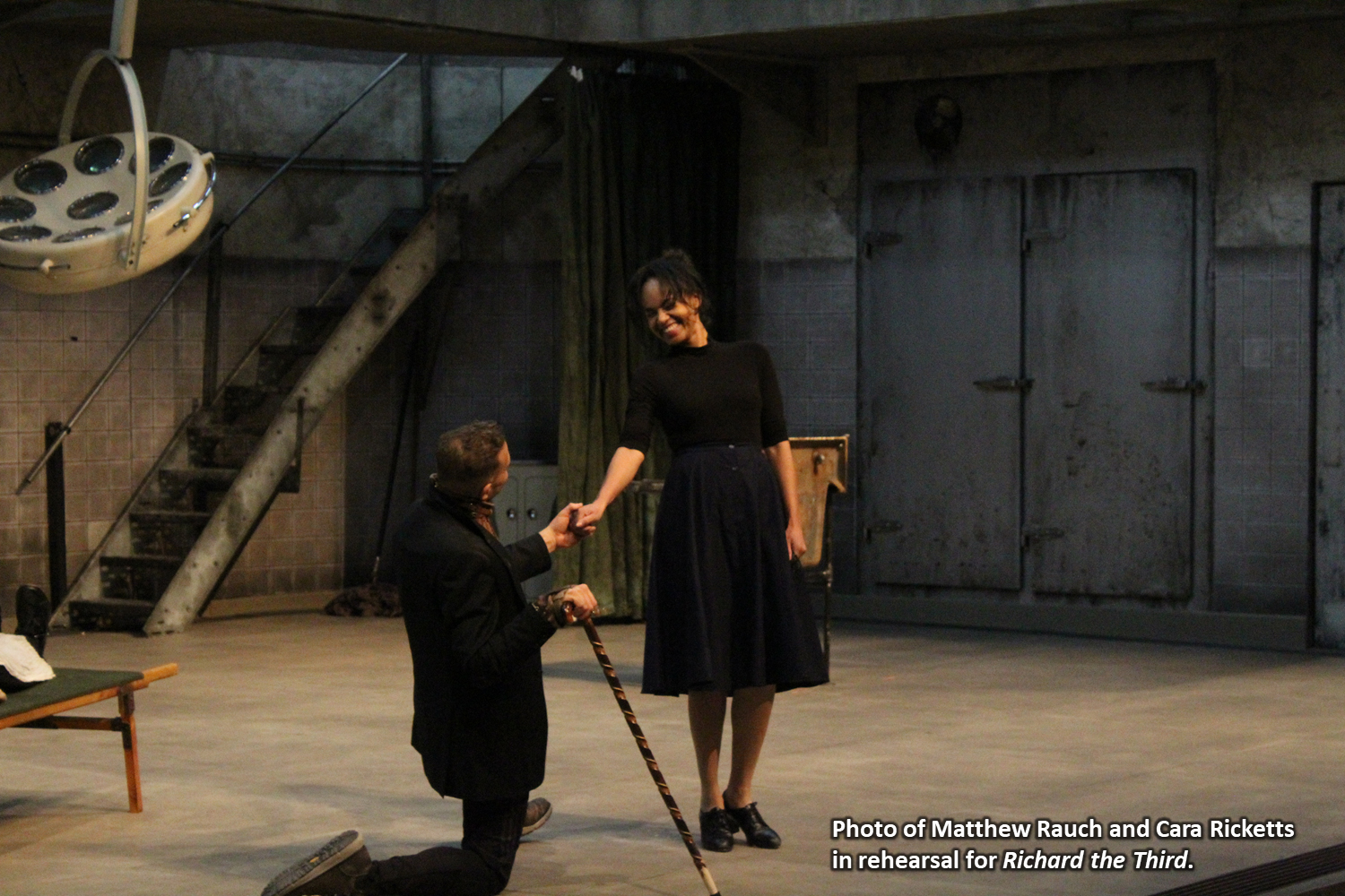 Photo of Matthew Rauch and Cara Ricketts in rehearsal for Richard the Third.