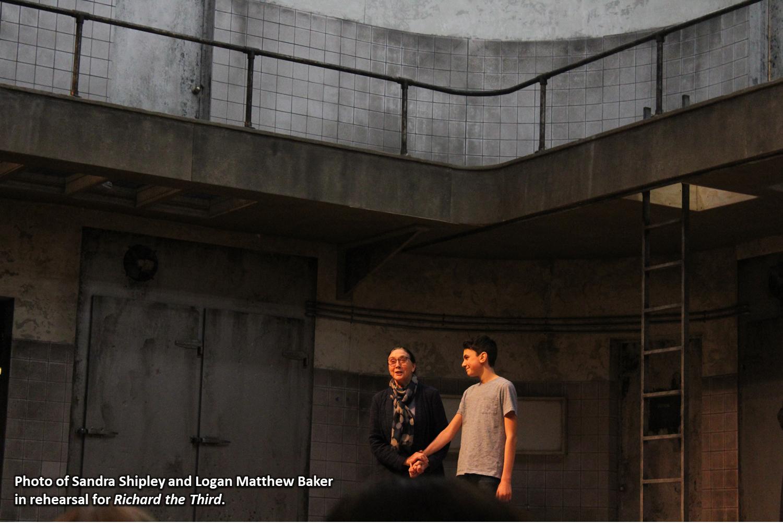 Photo of Sandra Shipley and Logan Matthew Baker in rehearsal for Richard the Third.