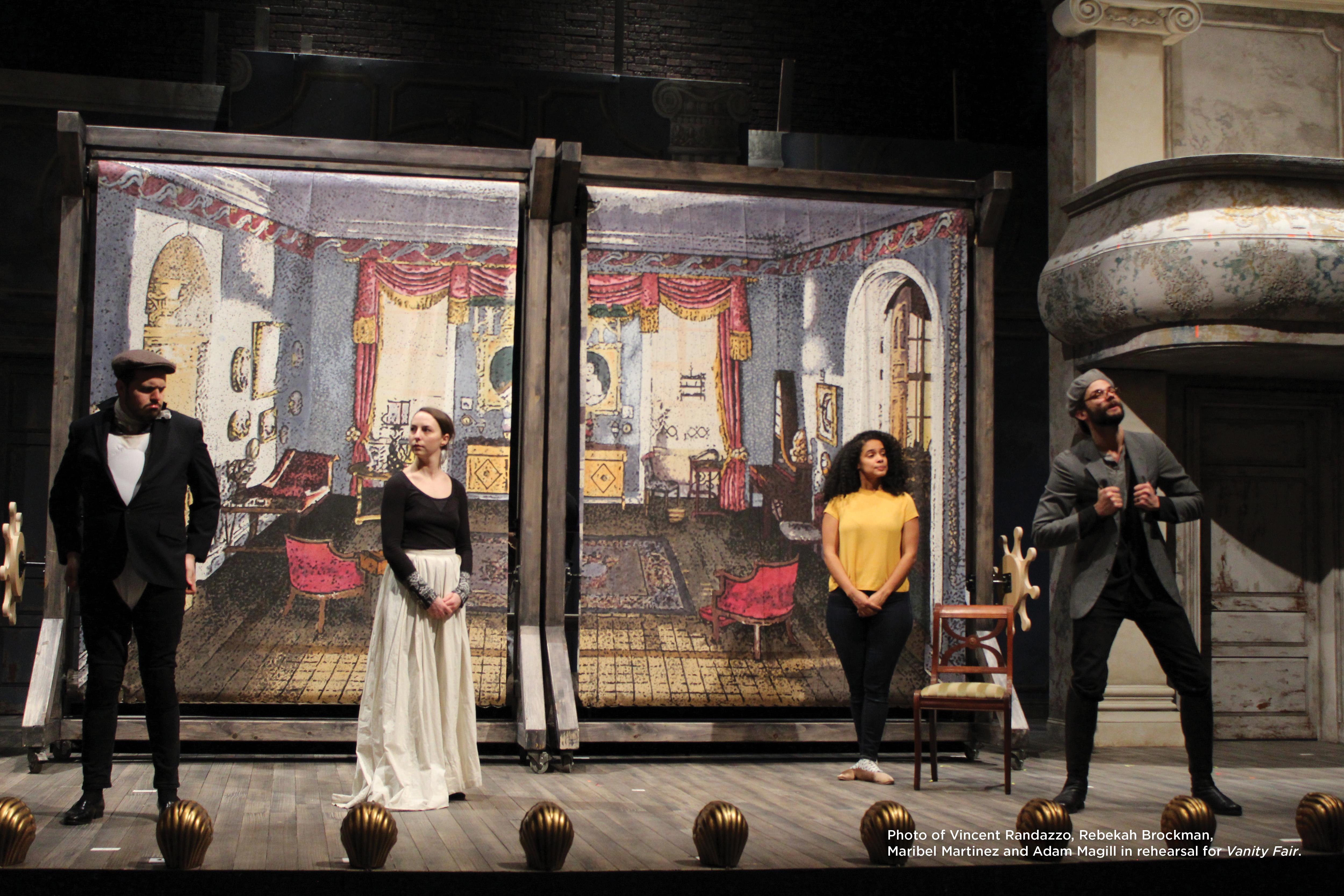 Photo of Vincent Randazzo, Rebekah Brockman, Maribel Martinez and Adam Magill in rehearsal for Vanity Fair.