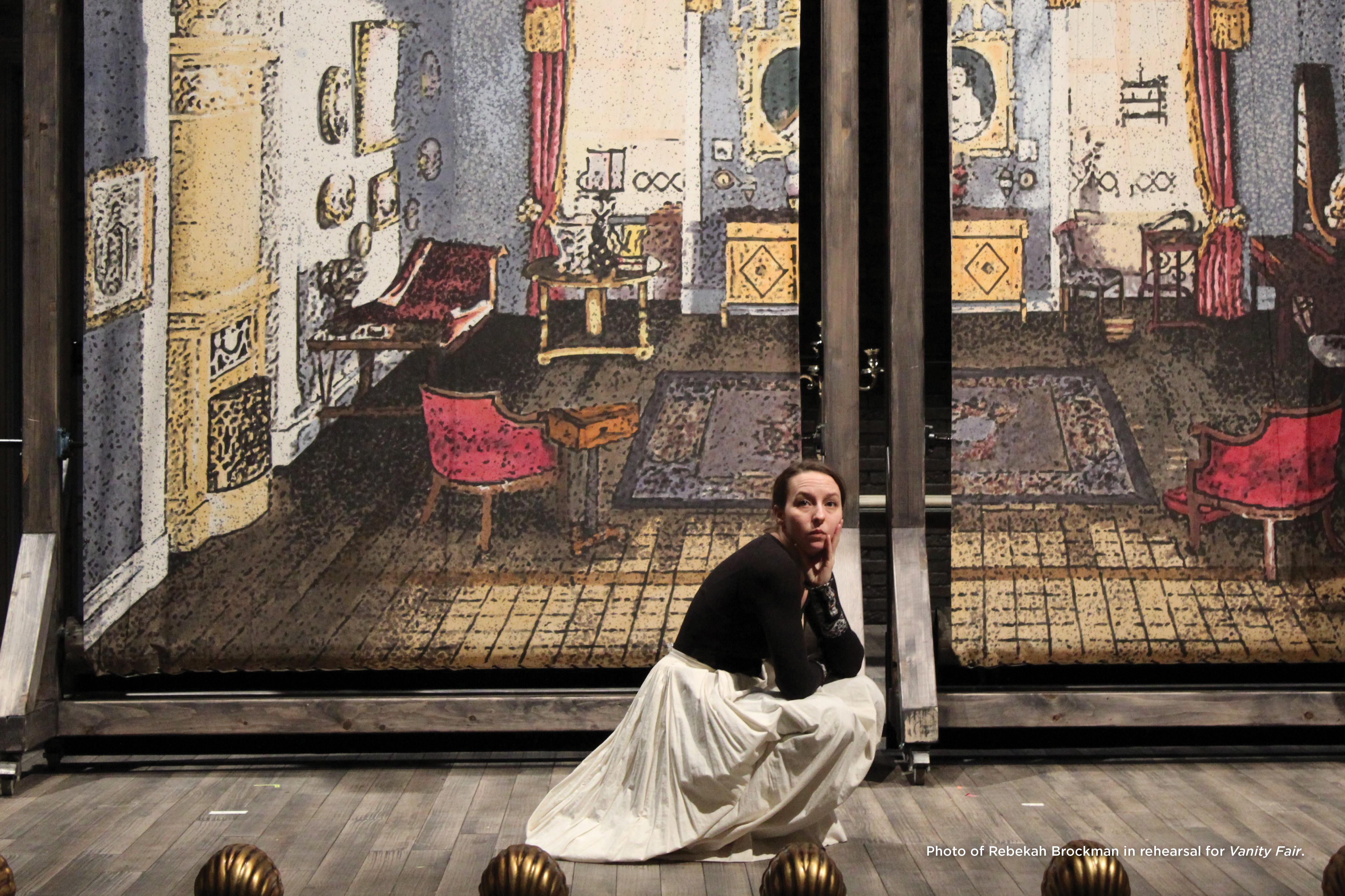 Photo of Rebekah Brockman in rehearsal for Vanity Fair.