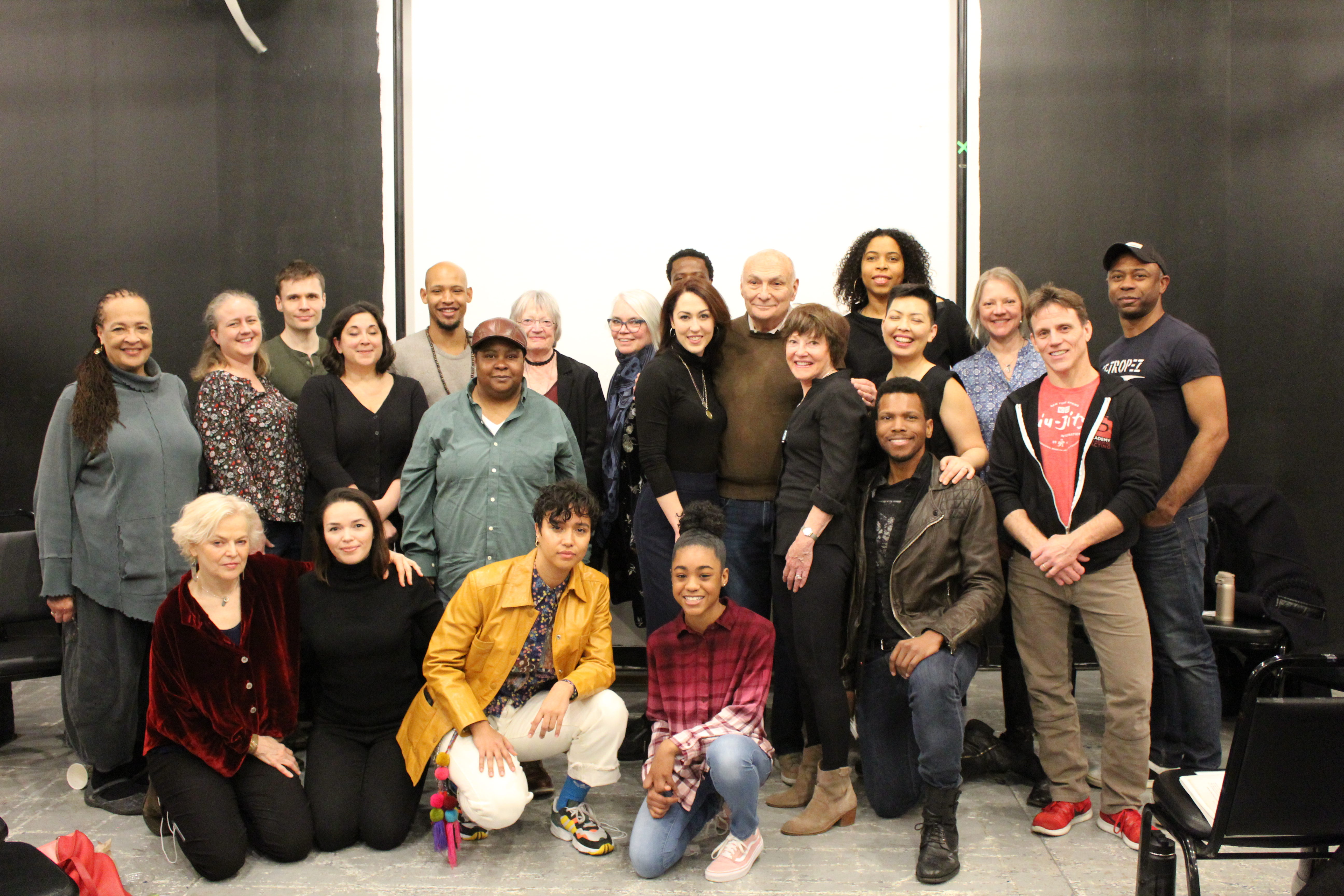 Photo of the cast and artistic team in rehearsal for The Oresteia.