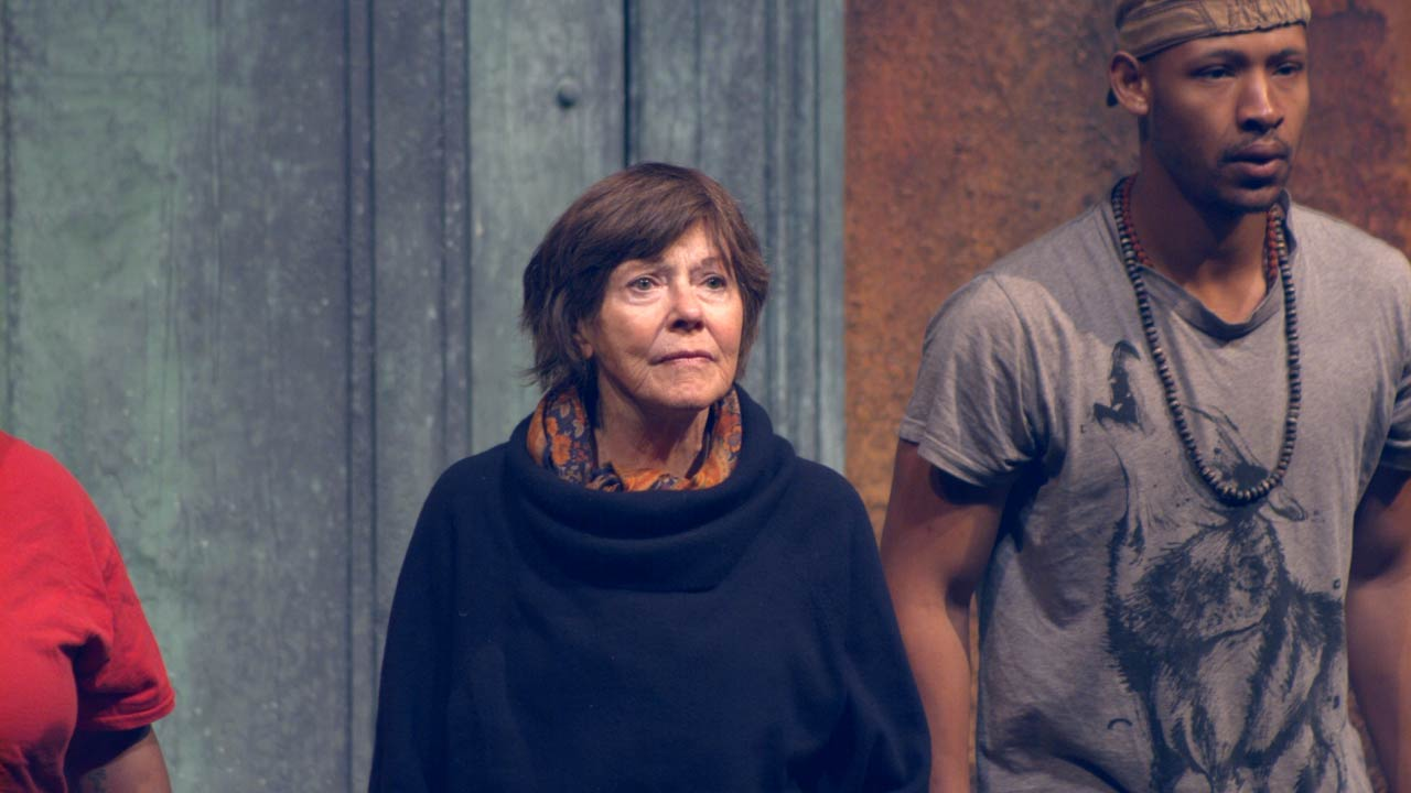 Photo of Helen Carey (Chorus) and Jonathan Louis Dent (Chorus) in rehearsal for The Oresteia.