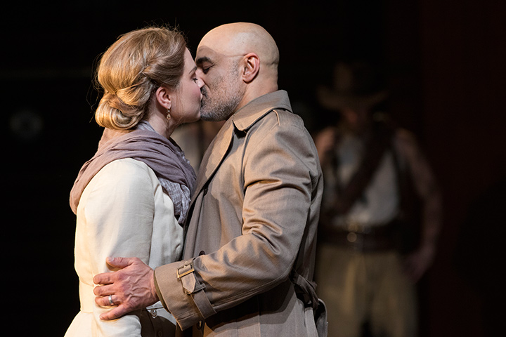 Ryman Sneed as Desdemona and Faran Tahir as Othello in STC's Production.