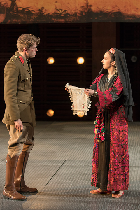 Patrick Vaill as Cassio and Natascia Diaz as Bianca in STC's Othello