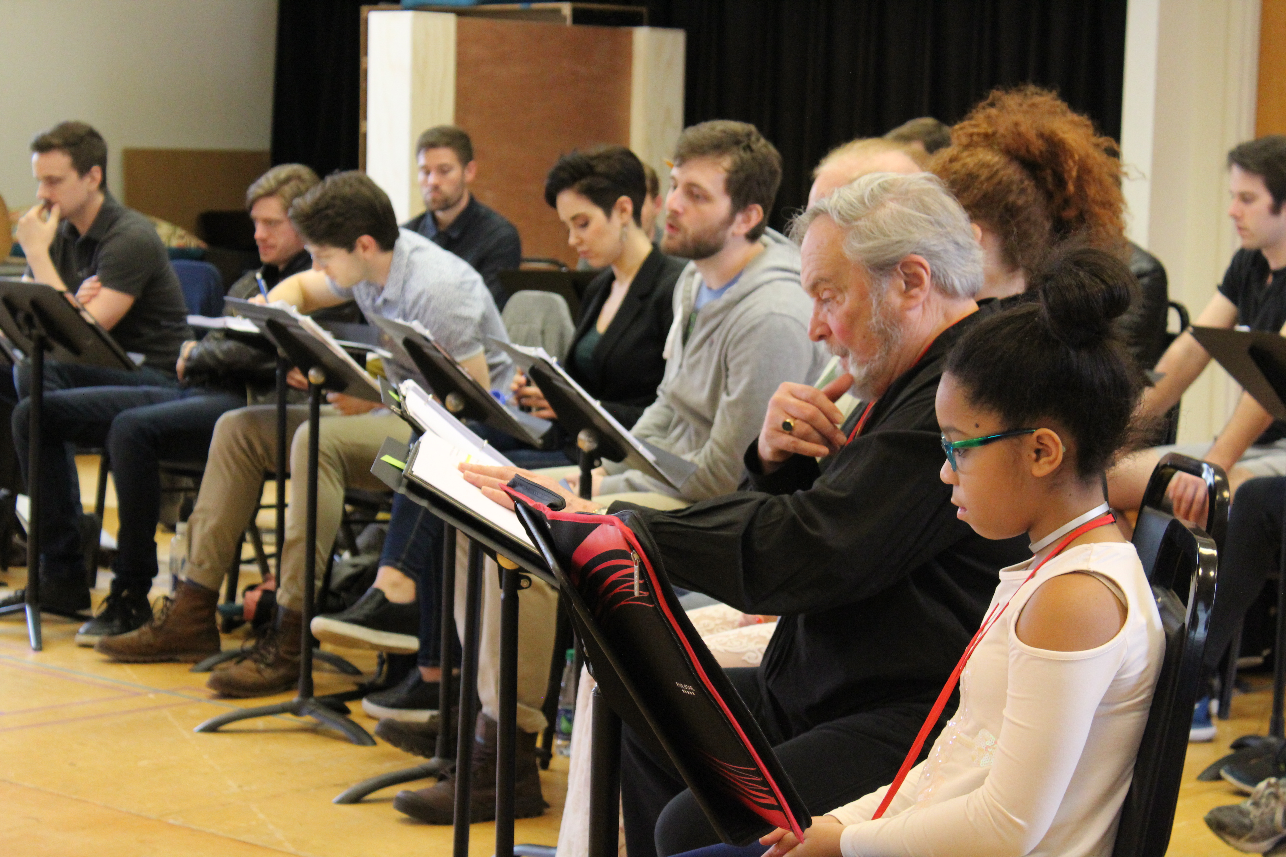 Photo of the cast of Camelot in rehearsal for Camelot.