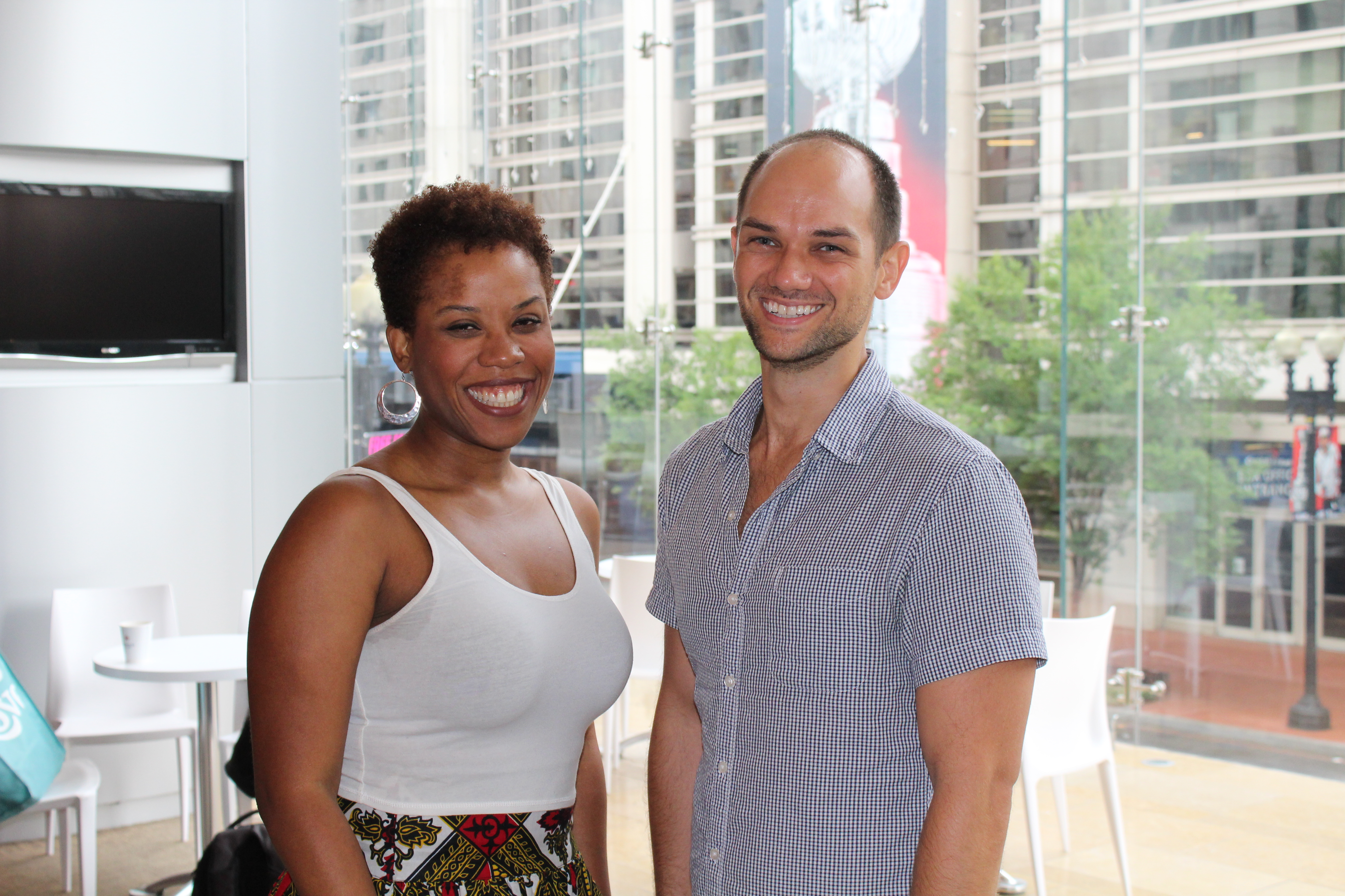 Photo of Eleasha Gamble and Carter Gill at the first rehearsal of The Comedy of Errors.