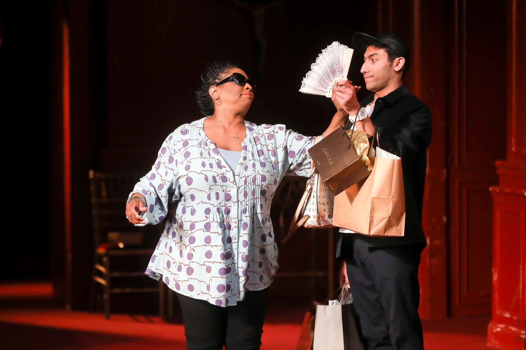 Photo of E. Faye Butler as Nurse and Joe Mucciolo as Peter in Romeo & Juliet by Tony Powell.