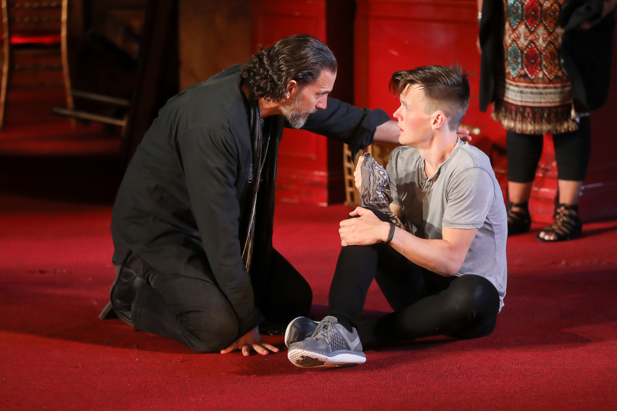 Photo of Ron Menzel as Friar Laurence and Sam Lilja as Romeo in Romeo & Juliet by Tony Powell.