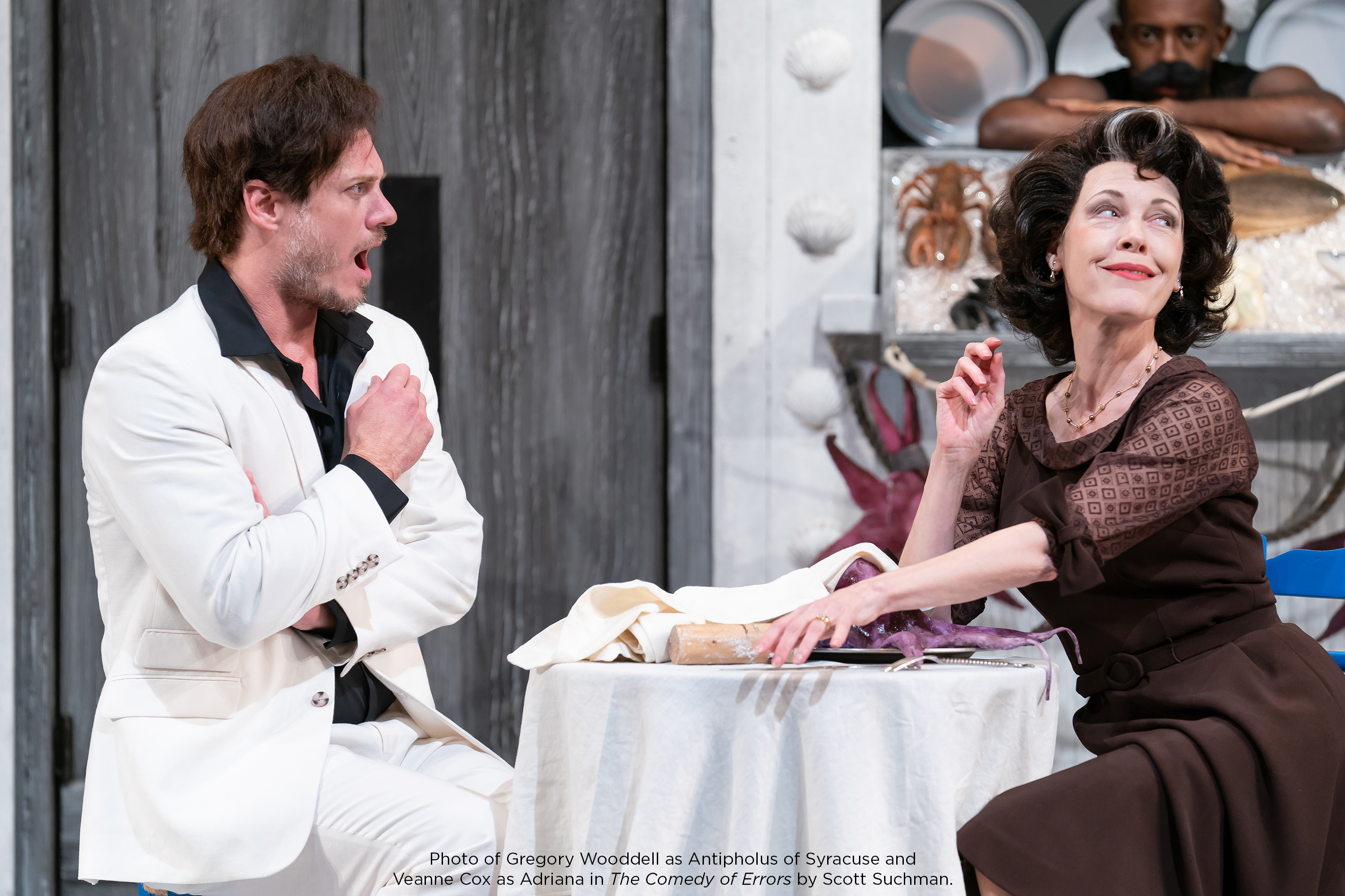 Photo of Gregory Wooddell as Antipholus of Syracuse and Veanne Cox as Adriana in The Comedy of Errors by Scott Suchman.