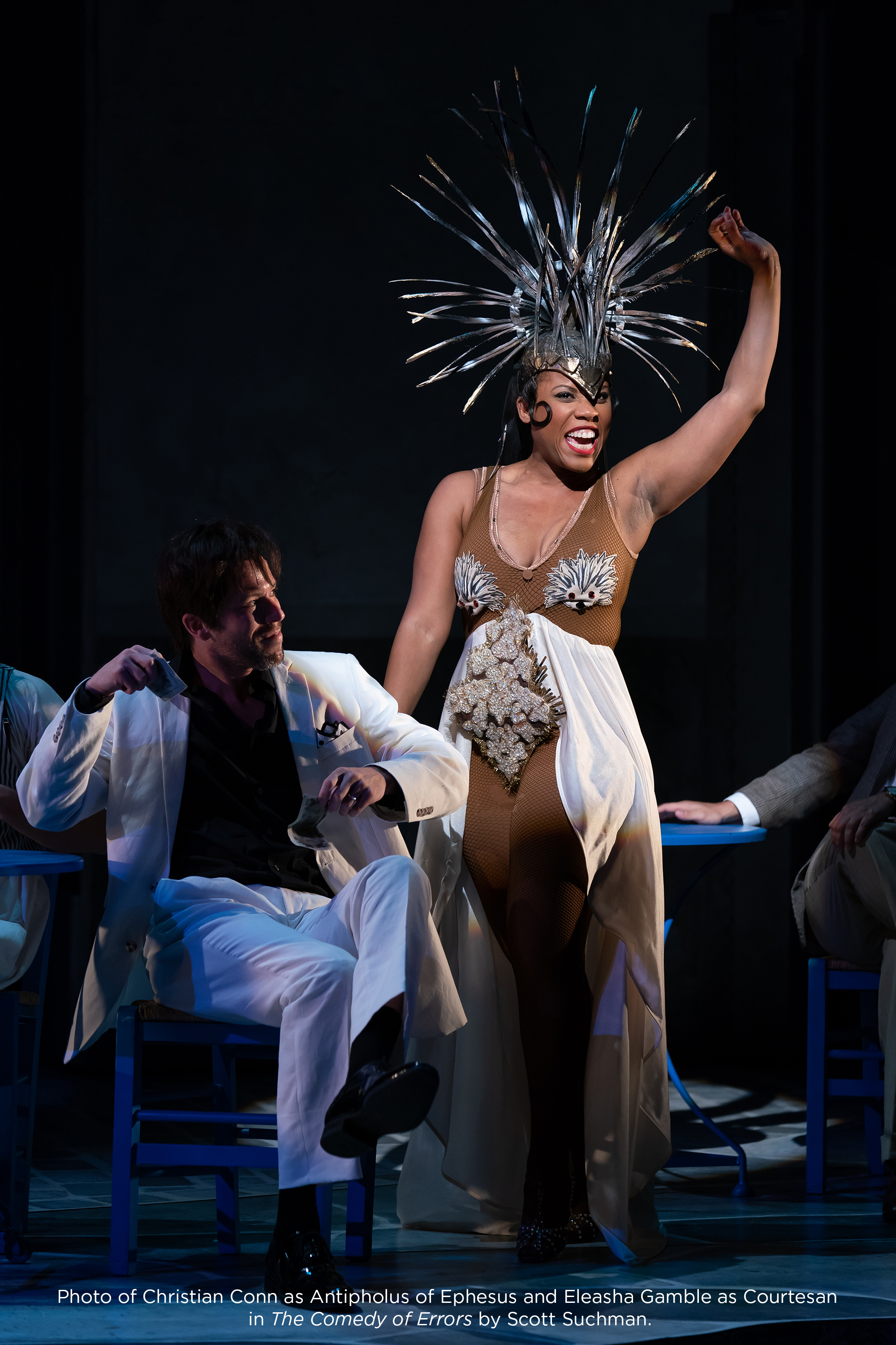 Photo of Christian Conn as Antipholus of Ephesus and Eleasha Gamble as Courtesan in The Comedy of Errors by Scott Suchman.