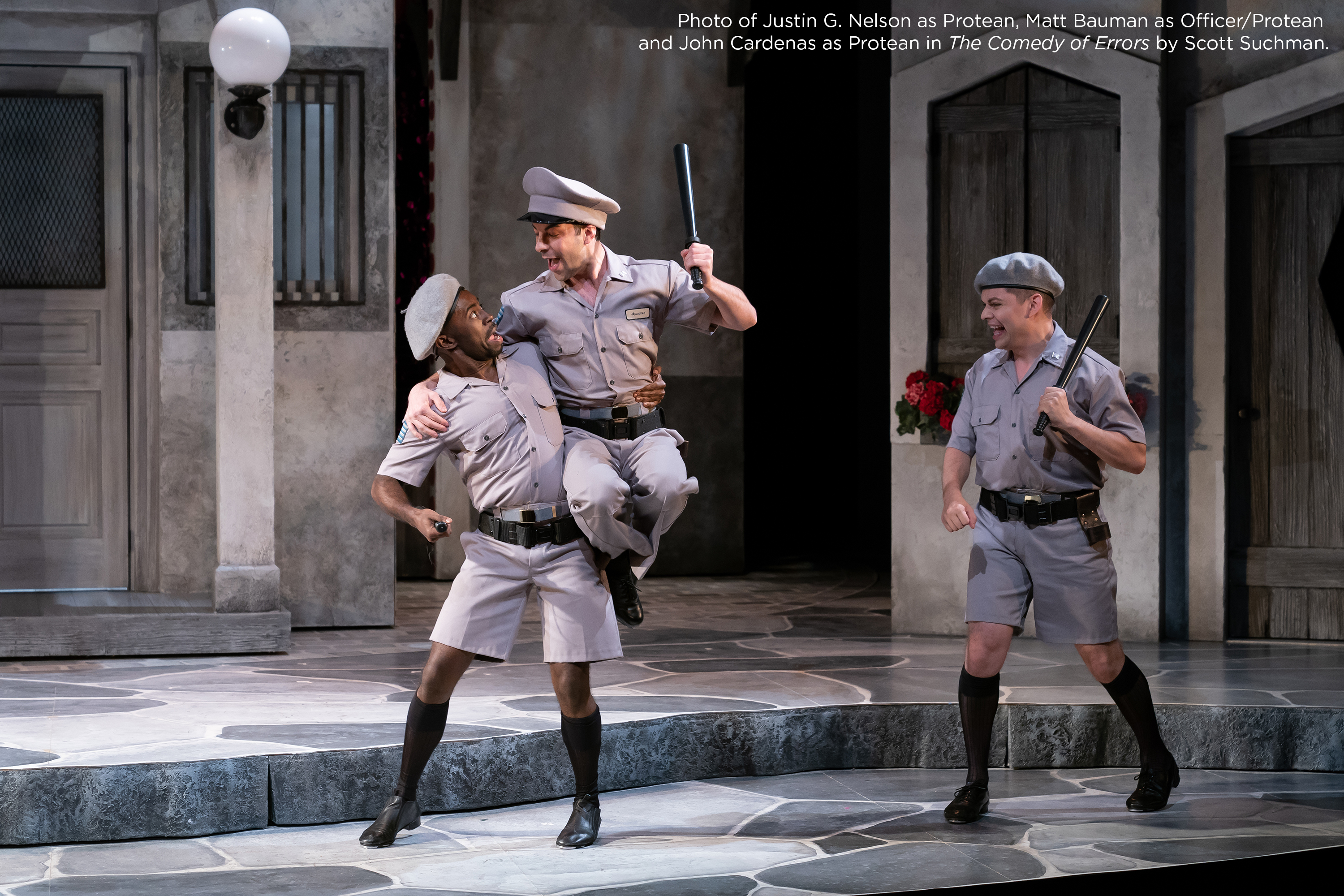 Photo of Justin G. Nelson as Protean, Matt Bauman as Officer/Protean and John Cardenas as Protean in The Comedy of Errors by Scott Suchman.