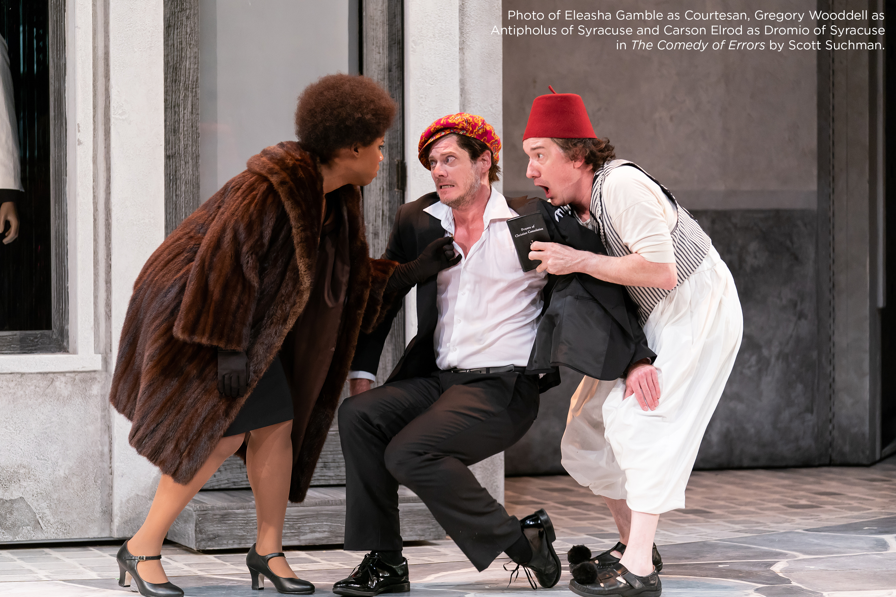 Photo of Eleasha Gamble as Courtesan, Gregory Wooddell as Antipholus of Syracuse and Carson Elrod as Dromio of Syracuse in The Comedy of Errors by Scott Suchman.