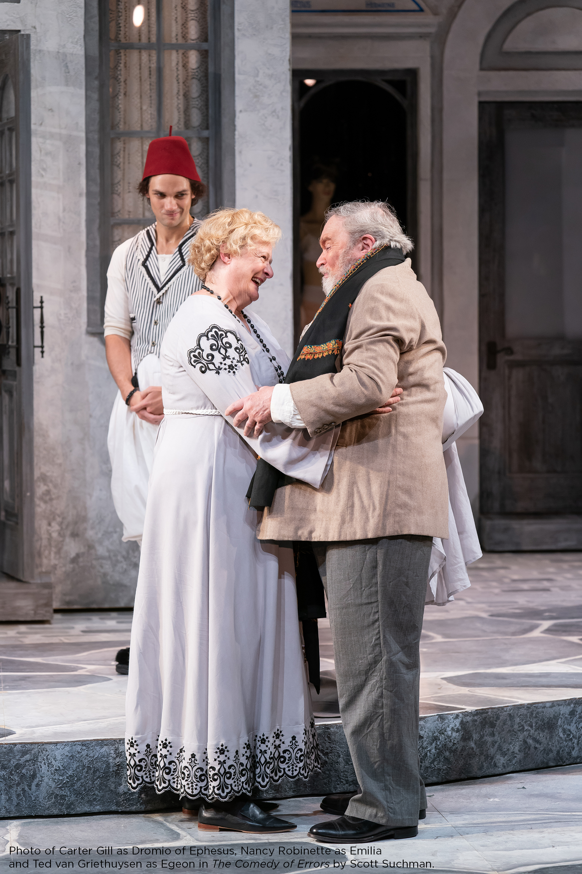 Photo of Carter Gill as Dromio of Ephesus, Nancy Robinette as Emilia and Ted van Griethuysen as Egeon in The Comedy of Errors by Scott Suchman.