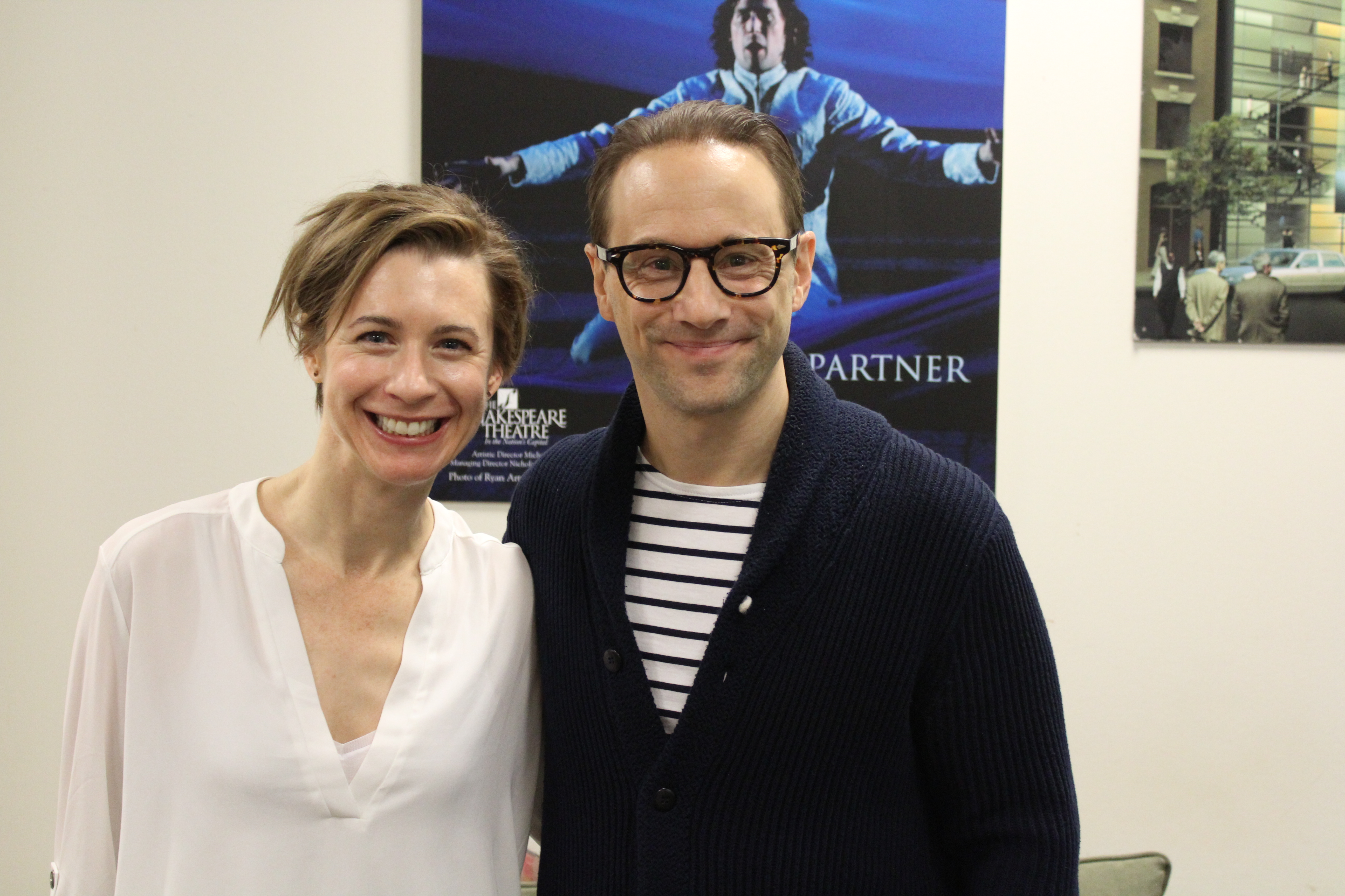 Photo of Julia Coffey and Kevin Isola at the first rehearsal of The Panties, The Partner and The Profit.