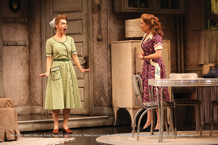Photo of Julia Coffey as Trudy Reezner and Kimberly Gilbert as Louise Mask in The Panties, The Partner and The Profit by Carol Rosegg.