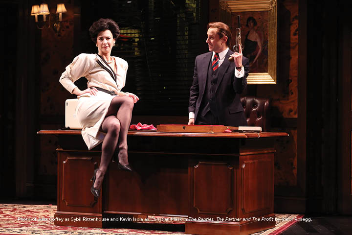 Photo of Julia Coffey as Sybil Rittenhouse and Kevin Isola as Christian Mask in The Panties, The Partner and The Profit by Carol Rosegg.
