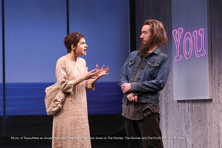 Photo Turna Mete as Ursula Mask and Carson Elrod as Joe Jones in The Panties, The Partner and The Profit by Carol Rosegg.