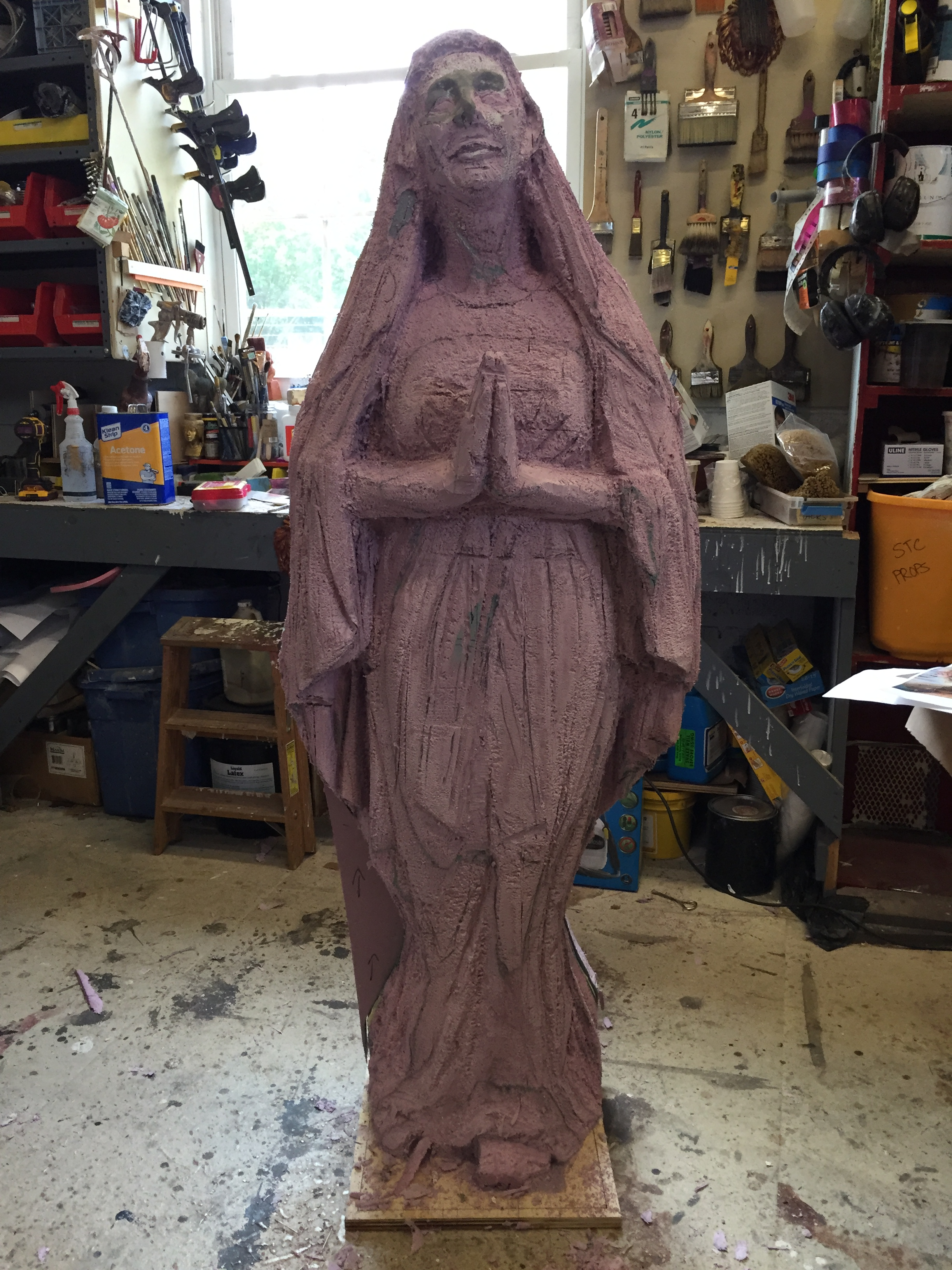 The progression of Props Painter/Sculptor Eric Hammesfahr's work on a Madonna statue for ROMEO & JULIET.