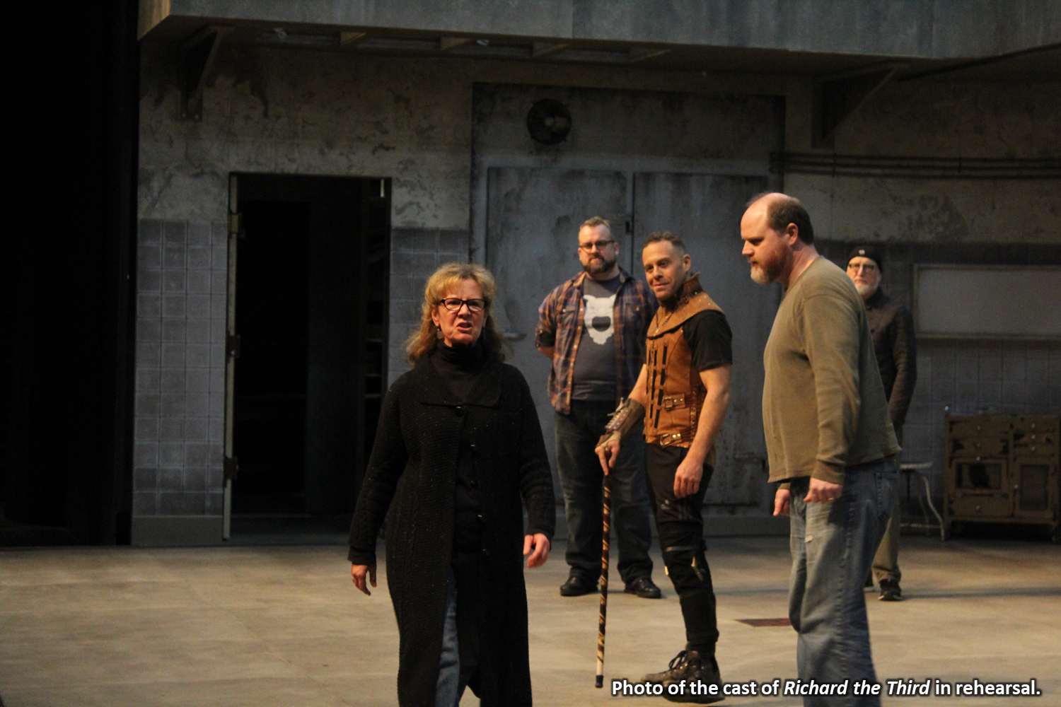 Photo of the cast of Richard the Third in rehearsal.