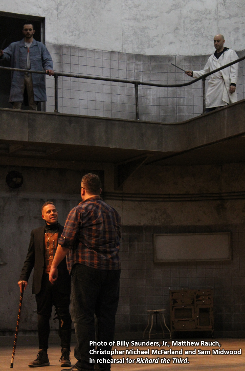 Photo of Billy Saunders, Jr., Matthew Rauch, Christopher Michael McFarland and Sam Midwood in rehearsal for Richard the Third.