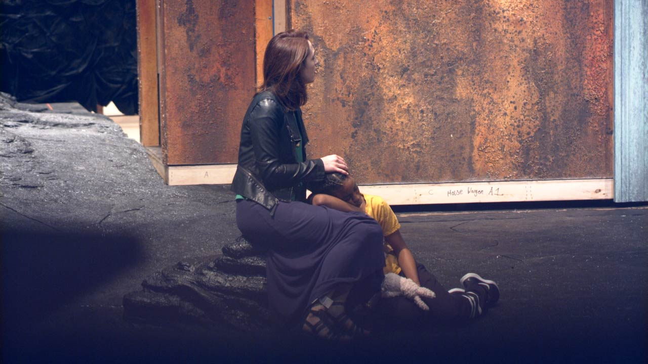 Photo of Kelley Curran (Clytemnestra) and Simone Warren (Iphigenia) in rehearsal for The Oresteia.