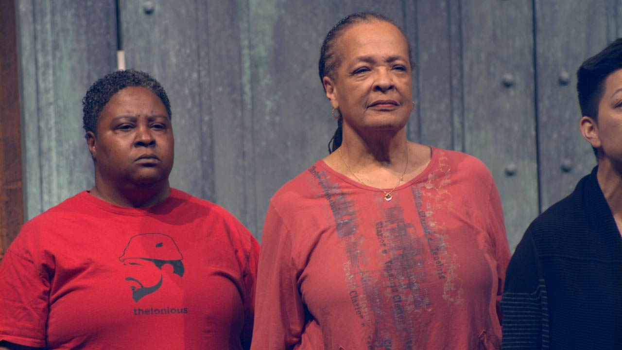 Photo of Patrena Murray (Chorus) and Franchelle Stewart Dorn (Chorus) in rehearsal for The Oresteia.
