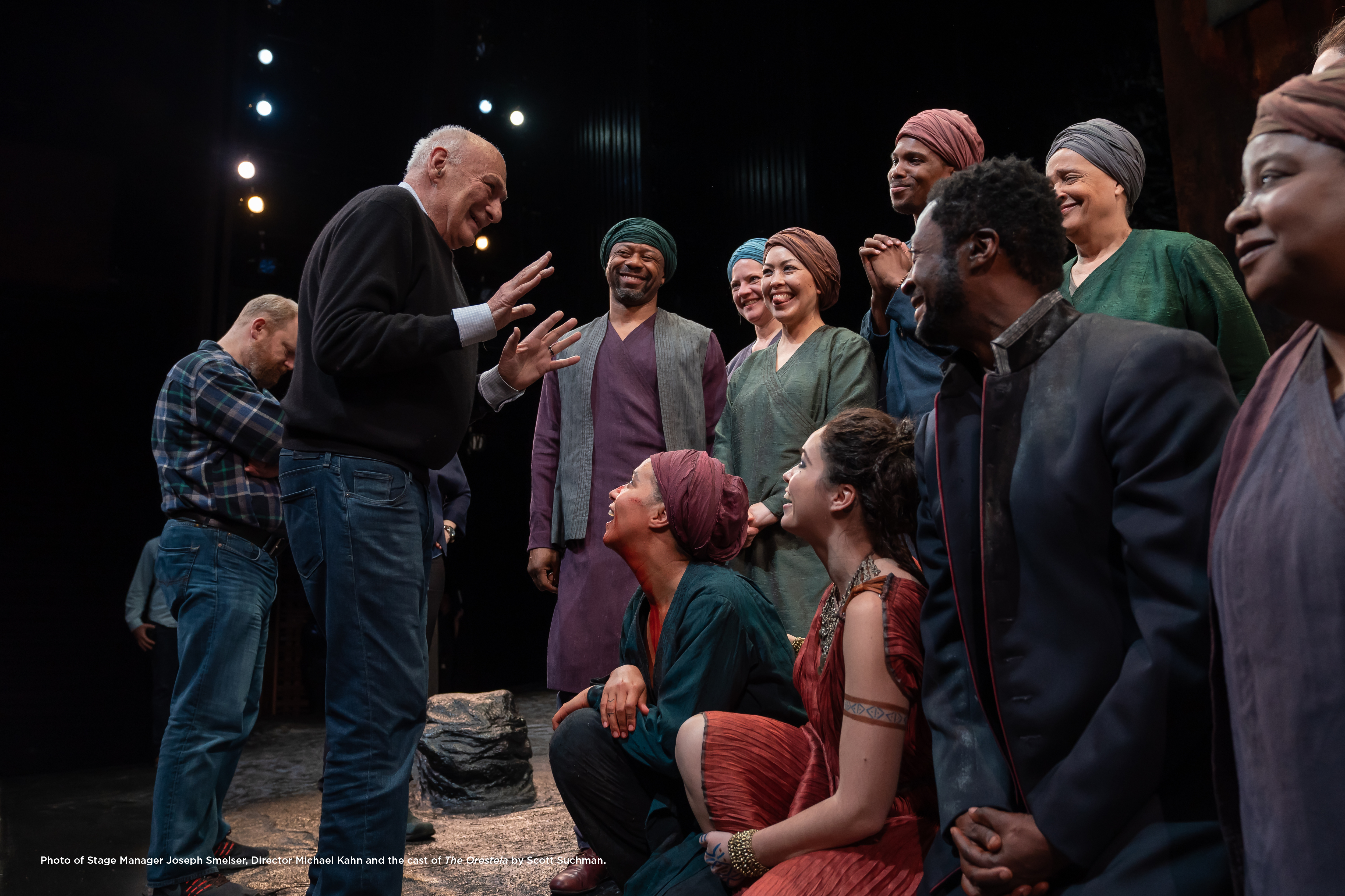 Photo of Stage Manager Joseph Smelser, Director Michael Kahn and the cast of The Oresteia.